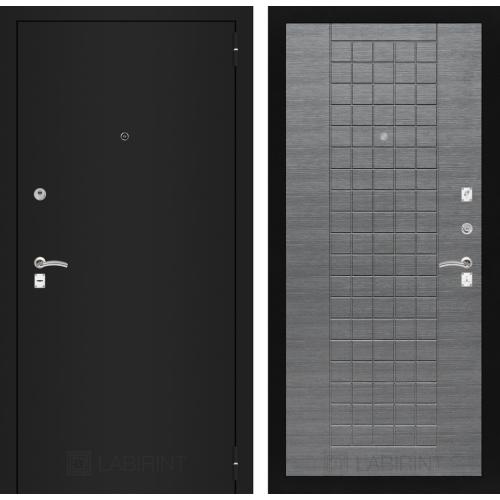 CLASSIC шагрень черная 09 - Лен сильвер грей